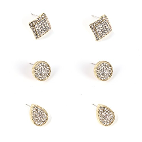 VK Accessories 3 Pairs Multi Shapes Earrings Studs Round Tear Drop Rhombus Gold Crystal Studs Set for Spring