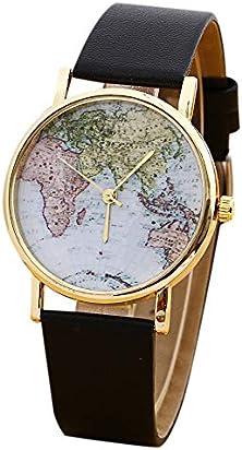 Watch, Womens Watches Classic World Map Watches Black Retro PU Leather Band Fashion Waterproof Quartz Dress Wrist Watch