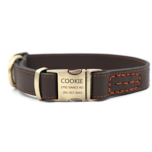 Youyixun Personalized Dog Collar, Customize Engraved Dog Collar with Name and Phone Number, Adjustable Genuine Leather Dog ID Collar-Brown,Medium