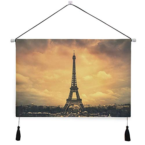 Dusk Eiffel Tower - AfdsaswfvsJj Paris Eiffel Tower City Clouds Dusk Scroll Tapestry Personality Canvas Painting Wall Hanging with Tassels Background Artwork Decorative Living Room Bedroom 17.5x24.5 Inches