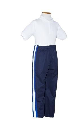 Pantalón de chandal marino con raya lateral blanca y celeste ...