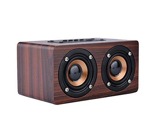 TOPROAD Wooden Wireless Bluetooth Speaker Portable HiFi Dual Speakers Shock Bass caixa de som Soundbar for Mobile PhonesChinaRed Wood Speaker