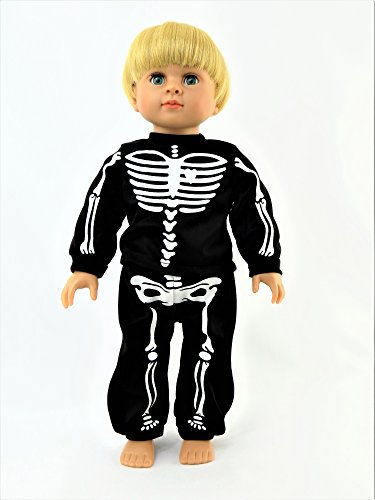Black Skeleton Halloween Pajamas | 18 Inch American Girl Doll Clothes -