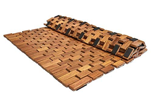 Large Folding Teak Bath Mat with Non Slip Grips   Mildew Resistant Teak Shower Mat Treated with Natural Teak Oil   Made in Indonesia with Legally Sourced Wood   27.5