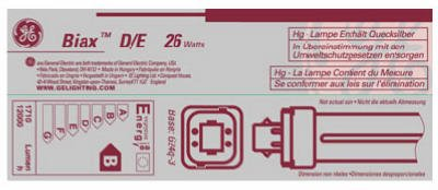 GE Lighting 97612 T4 Compact Fluorescent Lamp 26 Watt 4-Pin G24q-3 Base 1800 Lumens 82 CRI 3500K Ecolux Double Biax (26w Plug Fluorescent Compact)
