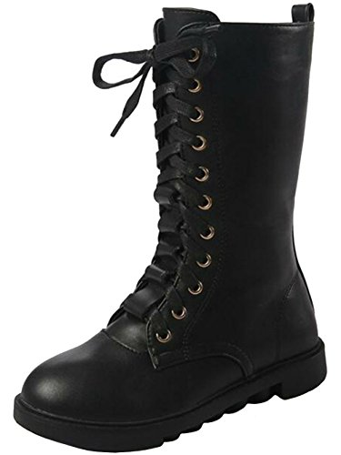 PPXID Boy's Girl's Waterproof Leather Plush Inner High Boots(Toddler/Little Kid/Big Kid)-Black 3.5 US Size ()