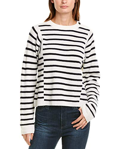 Vince Women's Mixed Stripe Pullover, Off White/Coastal, Small