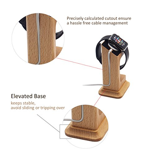 Apple Watch Dock, Blue Hole Stable Elevated Base Wood Apple Watch Charging Stand Dock Station, Support Apple Watch Series 3, Series 2, Series 1 (38 mm & 42 mm) by Blue Hole (Image #2)