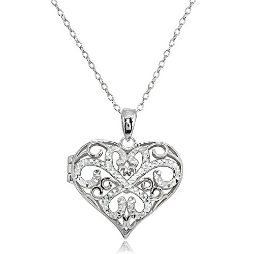 Childs Diamond Heart Locket (Sterling Silver Polished Diamond-Cut Heart Filigree Picture Locket Necklace)