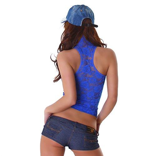 Alto Floreale Necktop Signore Unbekannt Blu Maniche Top Design shirt Shirt A Di Pizzo Camicia Moda Motivo Alla T Senza Collo dZq48Bnq