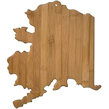 Totally Bamboo 20-7990AK Alaska State Shaped Bamboo Serving & Cutting Board