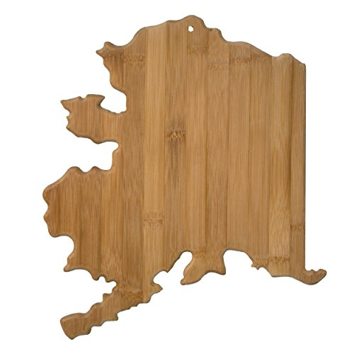Totally Bamboo 20-7990AK Alaska State Shaped Bamboo Serving & Cutting Board, ()