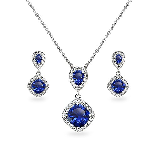 Sapphire Diamond Drop Necklace - Sterling Silver Created Blue Sapphire & White Topaz Dangle Earrings & Necklace Set