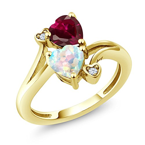 Gem Stone King 1.74 Ct Heart Shape White Simulated Opal Red Created Ruby 10K Yellow Gold Ring (Size 7)