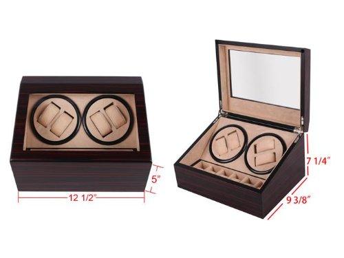 Walnut Wood Automatic Rotation 4 + 6 Ebony Watch Winder Storage Case Display Box