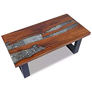 Amazon.com: Handmade Solid Teak Top Coffee Table Resin Mango Wood Base Paint Finish - Living