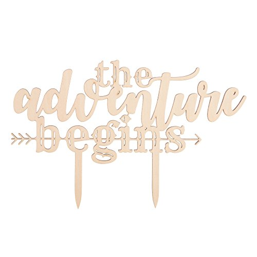 Ella Celebration The Adventure Begins Wooden Wedding Cake Topper, IMPROVED Arrow Rustic Wood Decoration 8 Inch Width (Adventure Begins) by Ella Celebration