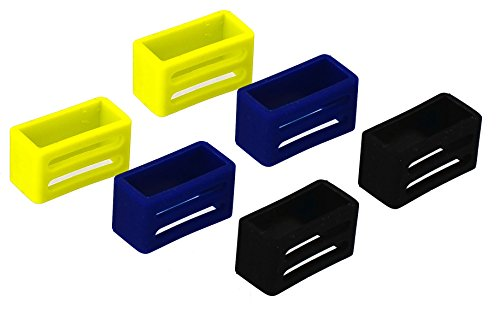 Silicone Watch Band Loop Keepers - Yellow, Blue, Black 3 Pair Set for 24 mm Lug Width