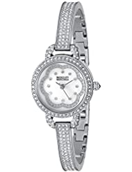 Badgley Mischka Womens BA/1343WMSB Swarovski Crystal-Accented Silver-Tone Bangle Watch