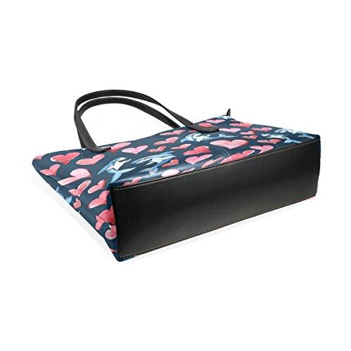 COOSUN Love Hearts Muster PU Leder Schultertasche Handtasche und Handtaschen Tasche für Frauen
