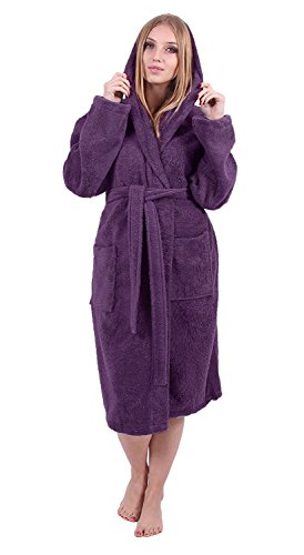 Turkuoise Women's Turkish Cotton Hooded Robe, Terry Hooded Bathrobe (XX-Large, Plum) (Terry Turkish Cloth Robes)