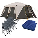 Bushnell 12 Person Instant Cabin Tent with 2 Bonus Queen Airbeds and 4 Chairs Value Bundle