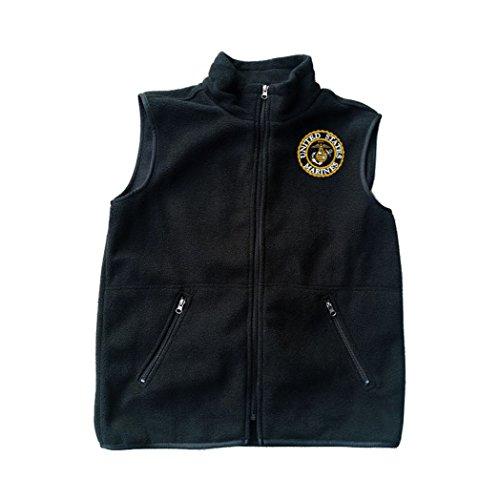 Military USMC U.S. Marine Logo Black Fleece Zipped Vest w...