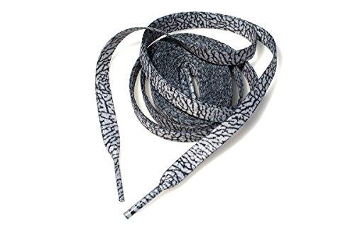 xxiii Flat Sublimated Cement & Elephant Print Shoelaces for Air Jordan 3 & Air Jordan 4 (60