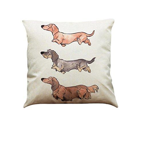 Kimloog Cute Dog Cotton Linen Pillow Cases Hidden Zip Sofa Home Car Waist Throw Cushion Cover (I)