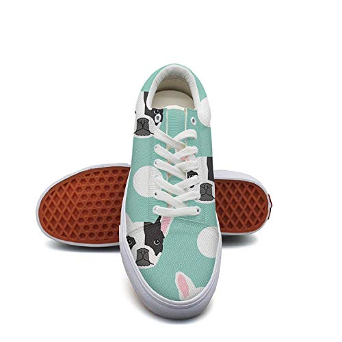 Keppel Teerd French Puppy Cattle Cute Puppies Dog Pattern Low Top Shoes Casual Canvas Sneakers for Women