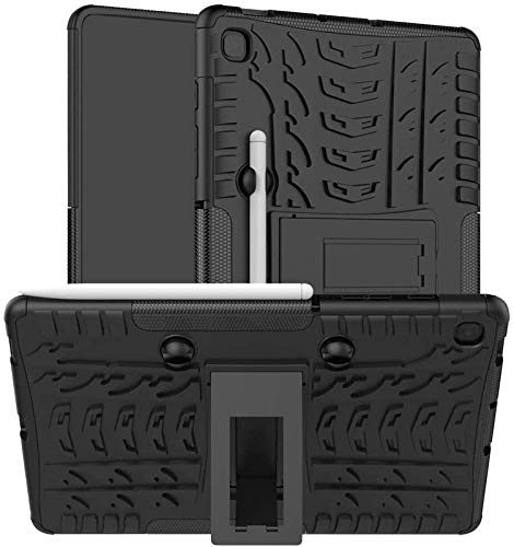SkyTree Heavy Duty Dazzle Shockproof TPU Anti-Drop Armor Hybrid Protective Silicone Rugged Kickstand Cover for Samsung Galaxy Tab S6 Lite 10.four SM-P610/P615 – Black
