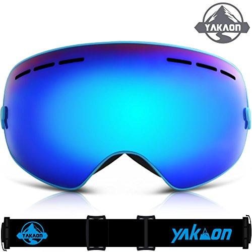 Ski Goggles, YAKAON Y1 Ski Snowboard Goggles with UV400 Protection Anti-fog Spherical Double Lens OTG Helmet Compatible Fix-point Anti-slip Strap Technology