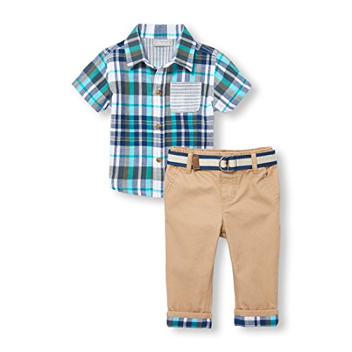The Children's Place Baby Boys Short Sleeve Button Up and Pant Set, Garden Cypress, 6-9 Months