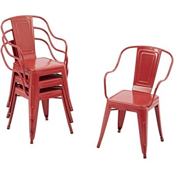 Industrial Style Camrose Farmhouse Chairs In Red, 4pack
