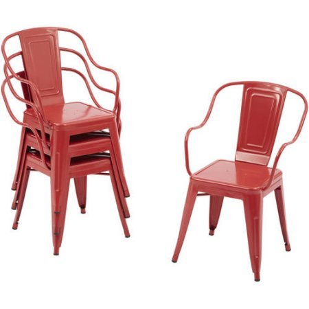Industrial Style Camrose Farmhouse Chairs in Red, 4pack - Farmhouse Kids Table