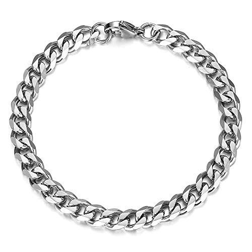 Trendsmax Stainless Steel Curb Cuban Link Chain for Men Boys Hip Hop Rapper Bracelet Silver 7 Inch ()