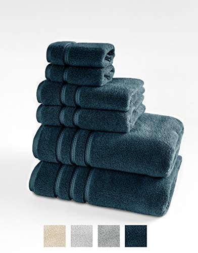 TRIDENT 100% Cotton Zero Twist Towels 6 Piece Set – 2 Bath Towels, 2 Hand Towels, 2 Washcloths, Ultra Soft, Luxurious, Highly Absorbent, Luxury Hotel Collection Large Towels (Navy)