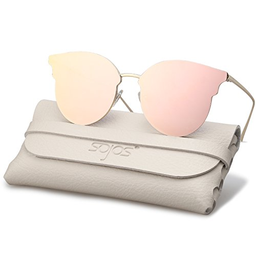 c3b590ee91 SojoS Fashion Oversized Cateye Sunglasses for Women Flat Mirrored Lens  SJ1055 (1055SC2 Gold Frame Pink Mirrored Lens