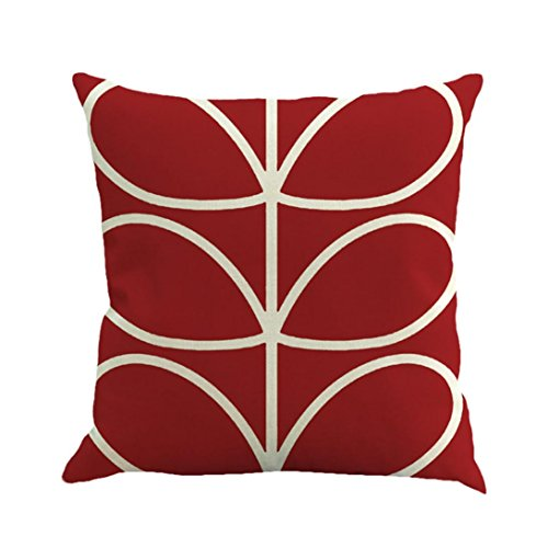 "Pillow Covers Decorative,Lavany Geometry Painting Linen Throw Pillow Case Cushion Cover Sofa Bedroom Home Decor Square ""18x18"" (Watermelon Red)"