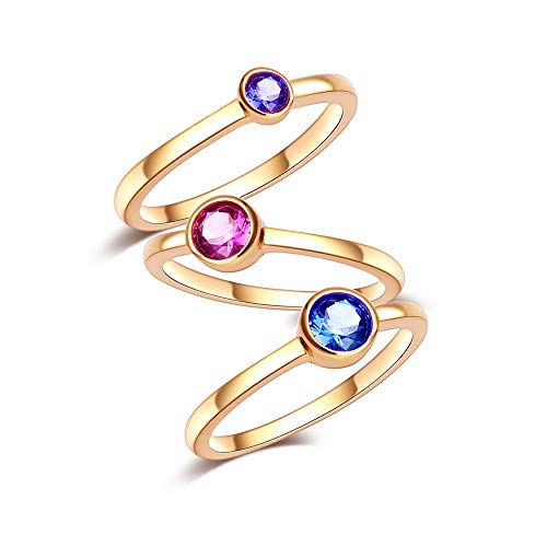 CRARINE Women's Stacking Trio Rings Set Solitaire Bezel Setting Original Design Plated 18K Gold 3 PCS ()