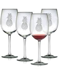 a344aeae66a Susquehanna Glass Pineapple Sand Etched/Hand Cut Wine Glasses, Set of 4, 16