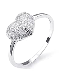 Konov Jewelry 925 Sterling Silver Cubic Zirconia Classic Heart Mens Womens Ring, Silver