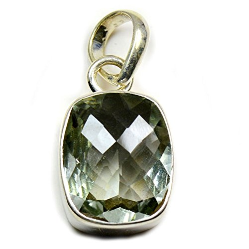 (Gemsonclick Natural Green Amethyst Pendant Square Shape 925 Sterling Silver MSP-224)