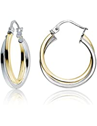 Sterling Silver Intertwining Square-Tube Polished Hoop Earrings