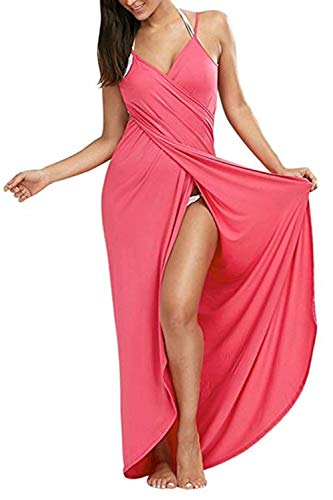 (Yanekop Womens Sexy Deep V-Necklin Maxi Backless Beach Dress Bikini Wrap Long (Pink,S))