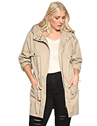 TheMogan Women's Sherpa Fur Lined Hooded Drawstring Anorak Utility Jacket Parka