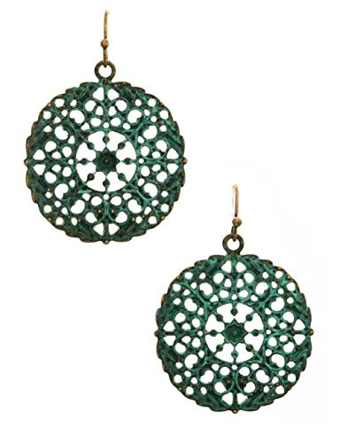 (Ornate Round Lacy Patina Teal Blue-Green on Copper-Tone Filigree Disk Earrings 1 3/4