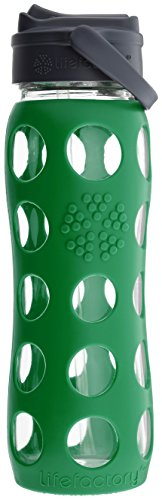 Lifefactory 22-Ounce BPA-Free Glass Water Bottle with Straw Cap & Silicone Sleeve, Green