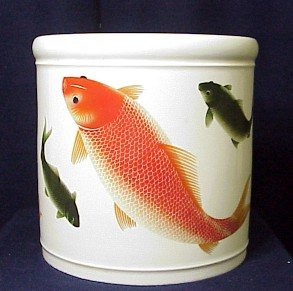 - Beautiful Large Porcelain Brush Vase with Fishes - One Only!