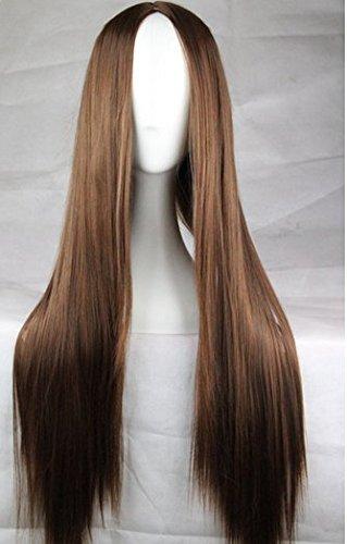 Peluca larga y lisa de mujer para disfraces, resistente al calor, 75 cm